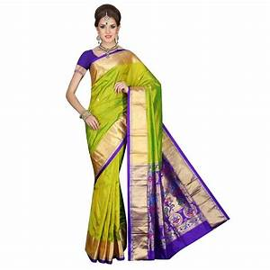 Buy PEA-GREEN Traditional Paithani pure silk Sarees Online