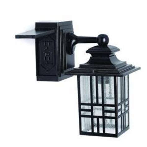 mission style exterior wall lantern with built in
