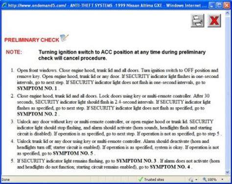 car maintenance manuals 2010 nissan altima security system 1999 nissan altima car cranks over but wont start