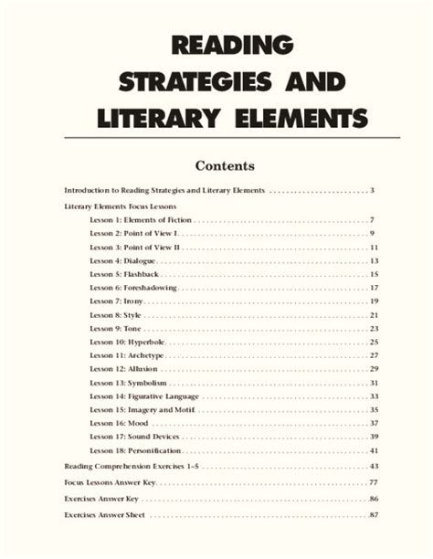 reading strategies and literary elements worksheet for 9th