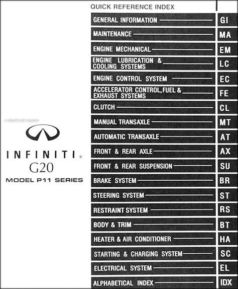 car engine manuals 2001 infiniti g auto manual 1999 infiniti g20 repair shop manual original