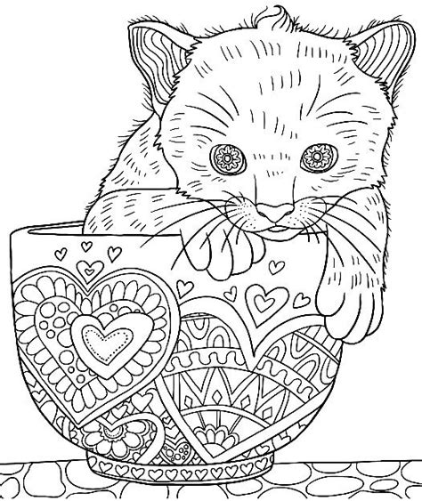 cute kitten   cup colouring page colormatters coloring app cat coloring book cat