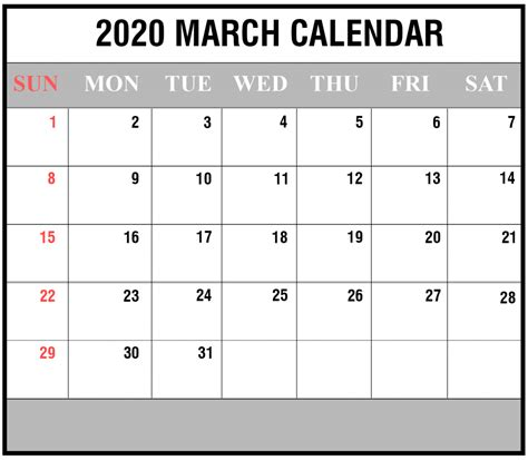 march calendar printable editable template blank