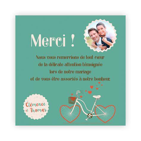 exemple texte remerciement mariage humoristique carte de remerciement mariage vintage v 233 lo avec roues en