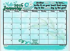 January 2016 Calendar Hello New Year! inkhappi