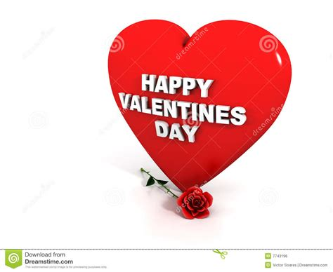 Happy Valentines Day - Red Heart And Rose Stock ...