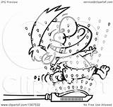 Running Through Clipart Sprinklers Boy Illustration Royalty Outlined Vector Toonaday Leishman Ron 2021 Copyright sketch template