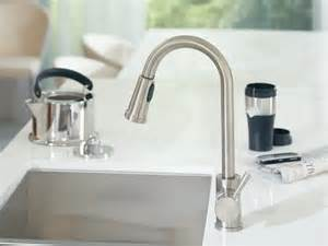 moen level kitchen faucet moen 7175 level one handle high arc pullout kitchen faucet chrome touch on kitchen sink