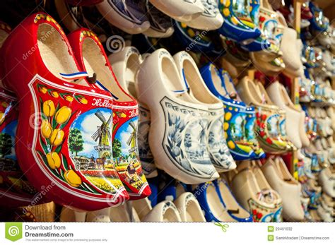 red holland clogs horizontal stock photo image