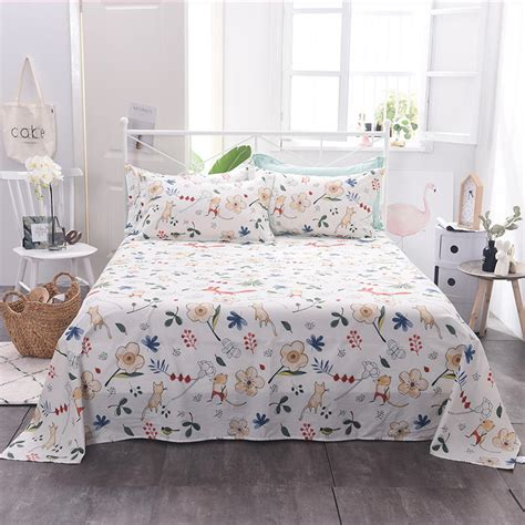 100 cotton bed sheet flamingo print full queen king size floral flat sheets bedclothes bed