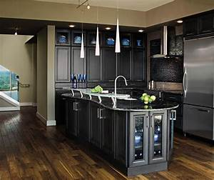 Dark grey kitchen cabinets masterbrand for Best brand of paint for kitchen cabinets with california wood wall art