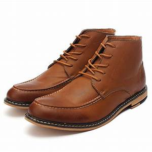 Buy Mens Casual PU Leather Lace-up Boots High Top Dress ...