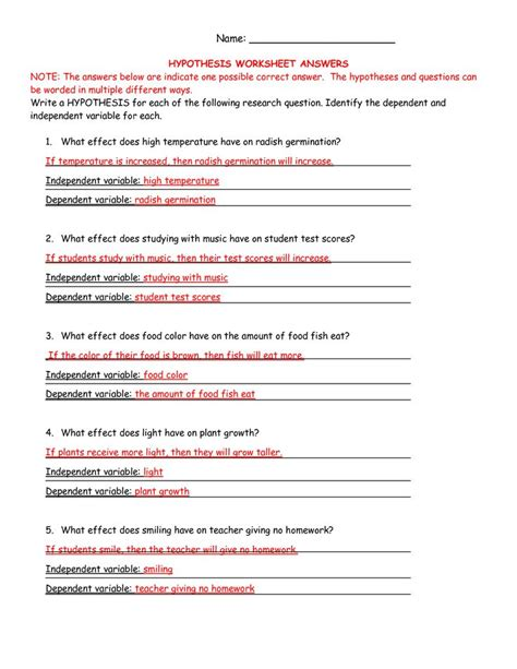 hypothesis worksheet ag science hypothesis worksheet answers curriculum ag science science and