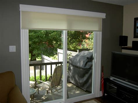 patio door blinds with curtains roller shade on a patio door flickr photo