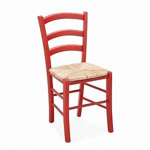 Chaise rouge avec assise paille yvonne meubles salle for Meuble salle À manger avec chaise paille