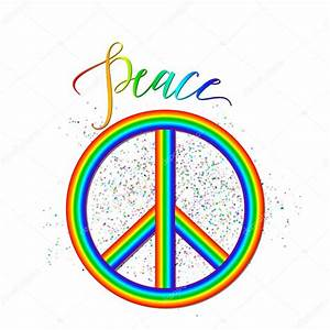 Vector illustration of rainbow peace logo with grunge ...