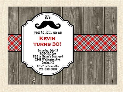 30th invitation Men Birthday Mustache 40th 50th BBQ Wood