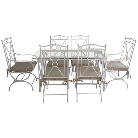 handmade white wrought iron patio dining set garden