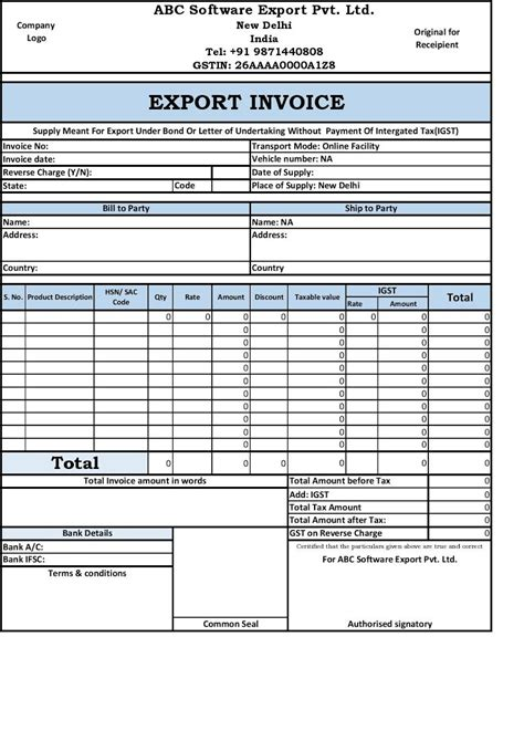 Sle Invoice Template Export Invoice Template 28 Images Export Invoice