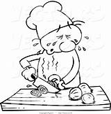 Chef Cartoon Drawing Onions Line Crying Slicing While Clipart Vector Coloring Clipground Gnurf sketch template