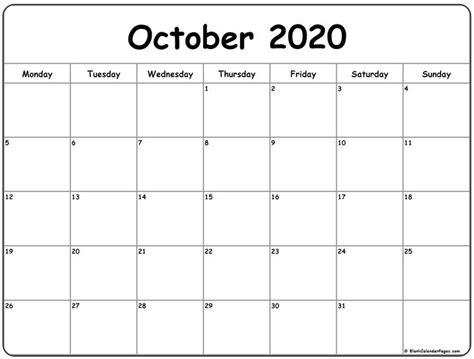 october  monday calendar monday  sunday