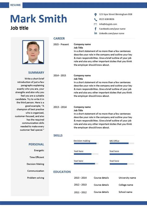 Basic Cv Exles by Free Downloadable Cv Template Exles Career Advice How To