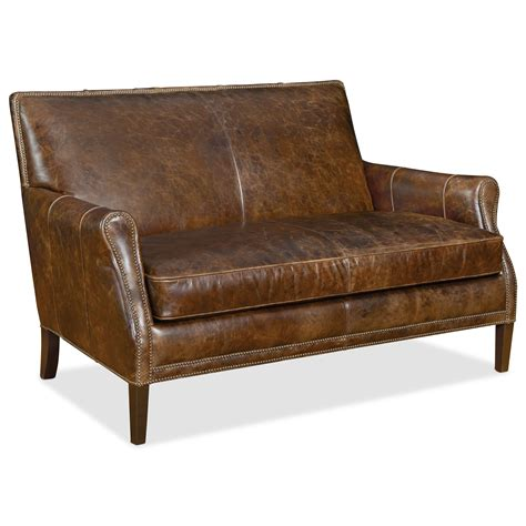 Furniture Settee by Furniture Leith Transitional Leather Settee With