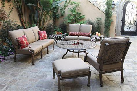 patio furniture cast aluminum seating 7pc santa barbara