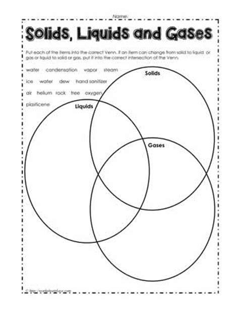 Venn Diagram Of State Of Matter by Solid Liquid Or Gas Venn Worksheets