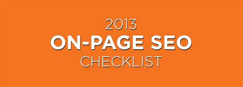 On Page Seo by On Page Seo The 2013 Checklist Infographic