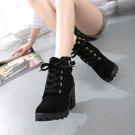 Womens Fashion High Heel Lace Ankle Boots Ladies Buckle