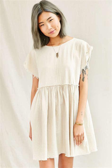 babydoll dress renewal remade edge linen babydoll dress in