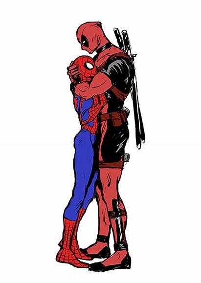 Deadpool Spiderman Gay Spideypool Gifs Kiss Lady