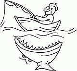 Boat Fishing Shark Coloring Pages Printable Colouring Boats Fish Boy Near Drawing Attacking Row Funny Clipart Fisherman Speed Speedboat Coloringpagesonly sketch template