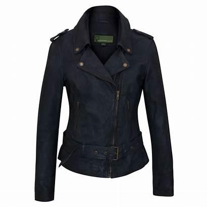 Leather Jacket Biker Navy Ladies Jackets Womens