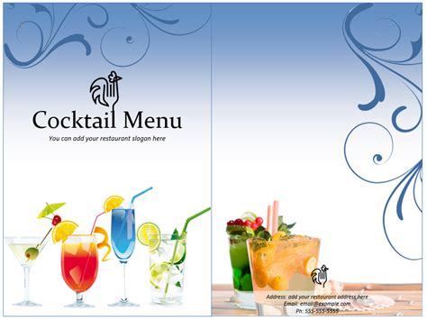 Drink Menu Templates Microsoft Word Costumepartyrun