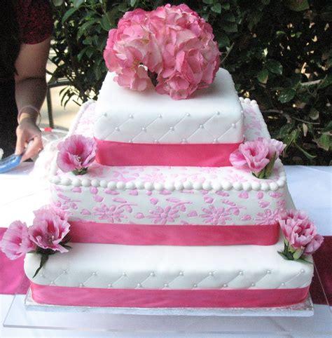 Pink Flowers Wedding Cake