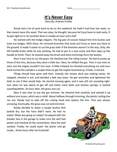 Fourth Grade Reading Comprehension Worksheets  Page 3 Of 7  Have Fun Teaching