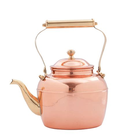 Old Dutch 2.5 qt. Solid Copper Tea Kettle with Brass Handle   Replacement for # 837   Tea