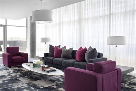 Grey And Purple Living Room Curtains by 10 Purple Modern Living Room Decorating Ideas Interior