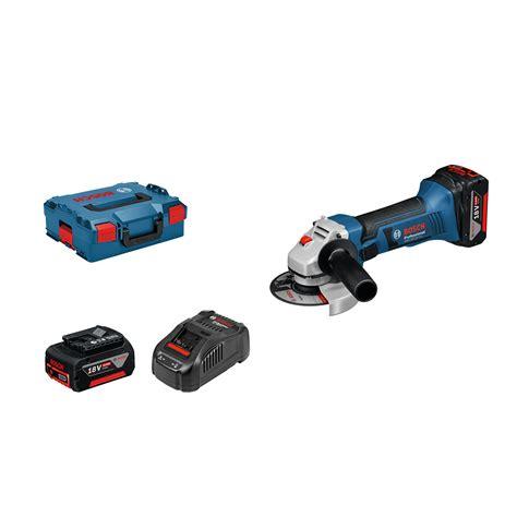 bosch gws 18 125 v li professional toolstop bosch gws 18 125 v li 125mm professional angle grinder 2 x 5 0ah batteries