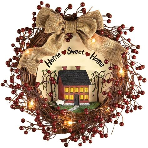 pre lit primitive country red berries wreath domestic