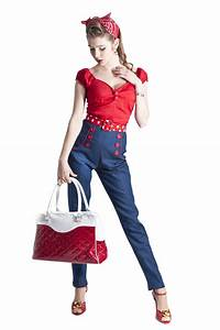 Pantalon jeans retro pin up 5039s rockabilly barbara for Vêtements rockabilly femme