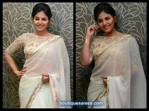 Boat Neck Blouse With Saree by White Saree Page 2 Boutiquesarees
