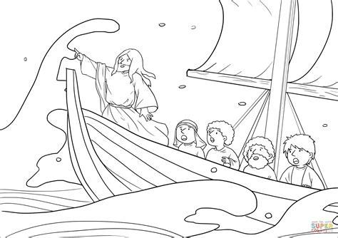 jesus calms  storm mark   coloring page