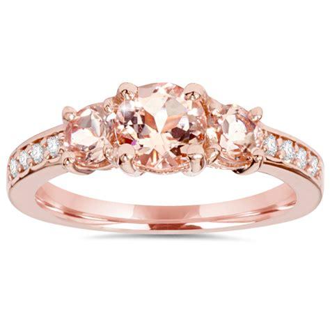 150ct Morganite & Natural Diamond 3 Stone Ring 14k Rose Gold