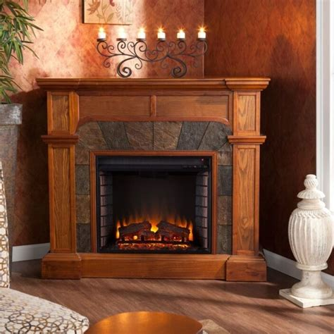 Corner Fireplace Mantels - oak electric corner or flat fireplace mantle fireplaces 45