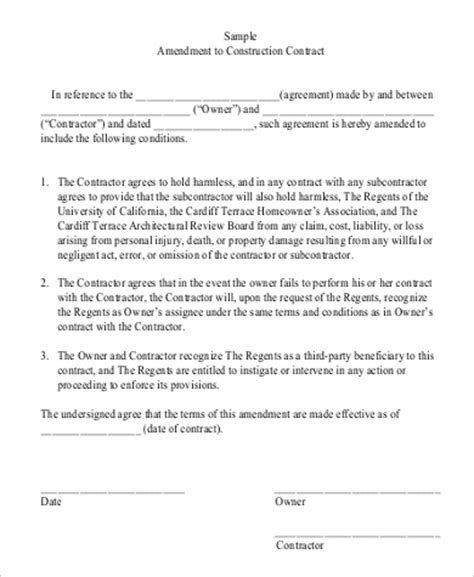 contract addendum template 10 construction contract sles sle templates