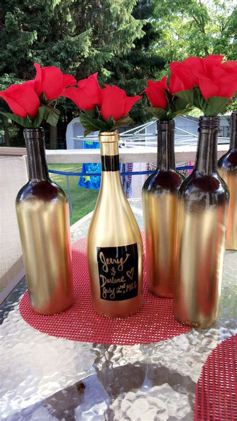 black  gold ombre spray painted wine bottles
