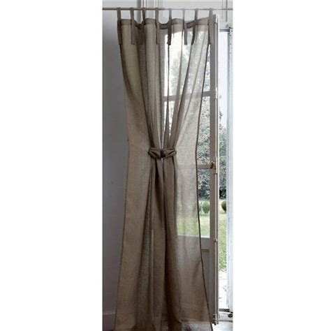 linen muslin tab top curtain with tie back home